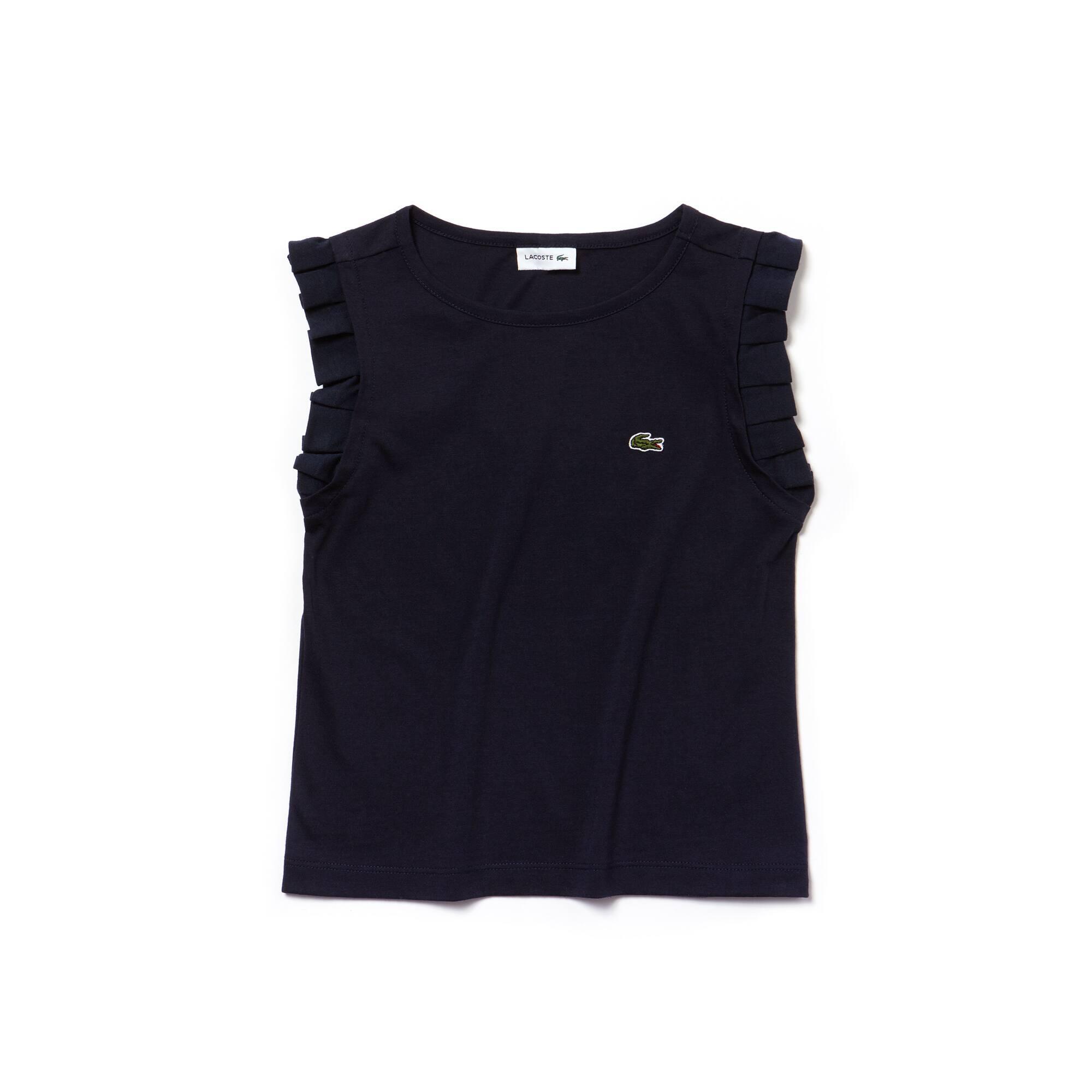 Girls' Crew Neck Flounced Shoulders Jersey T-shirt