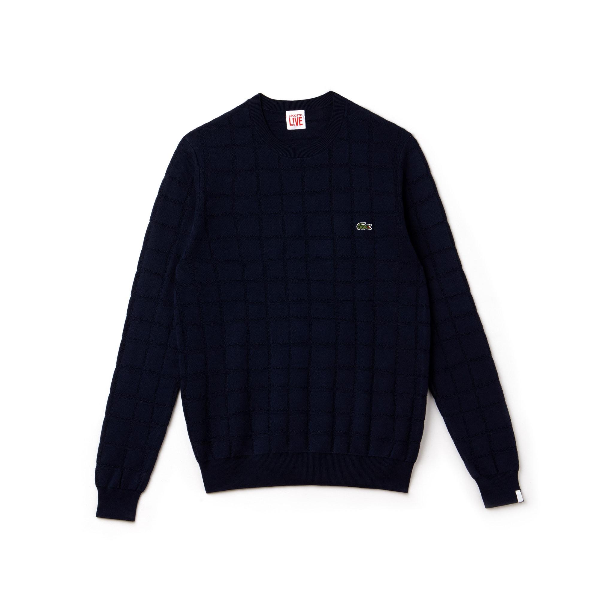Men's Lacoste LIVE Crew Neck Mini Check Jacquard Sweater