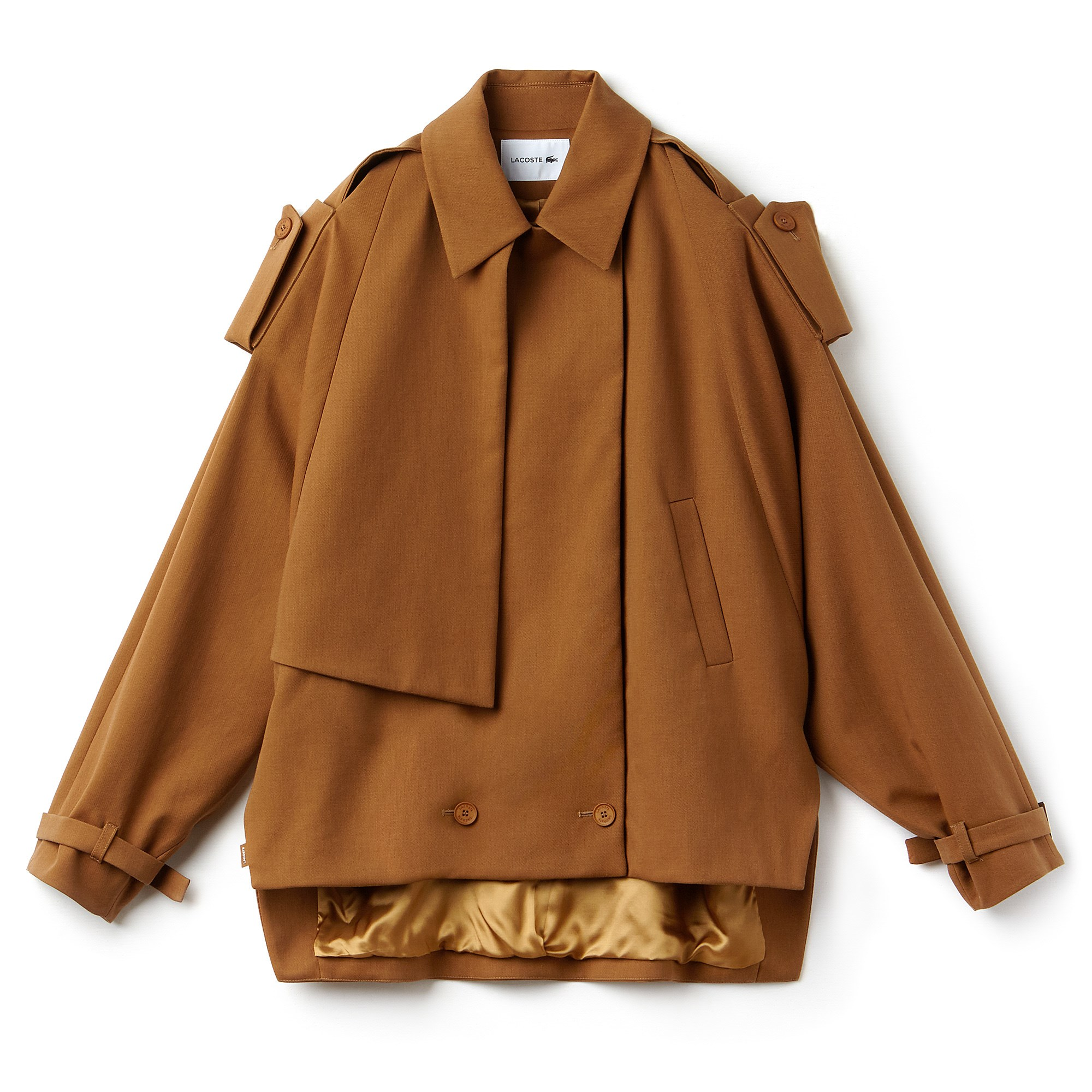 Women's Concealed Buttons Water-Resistant Gabardine Pea Coat