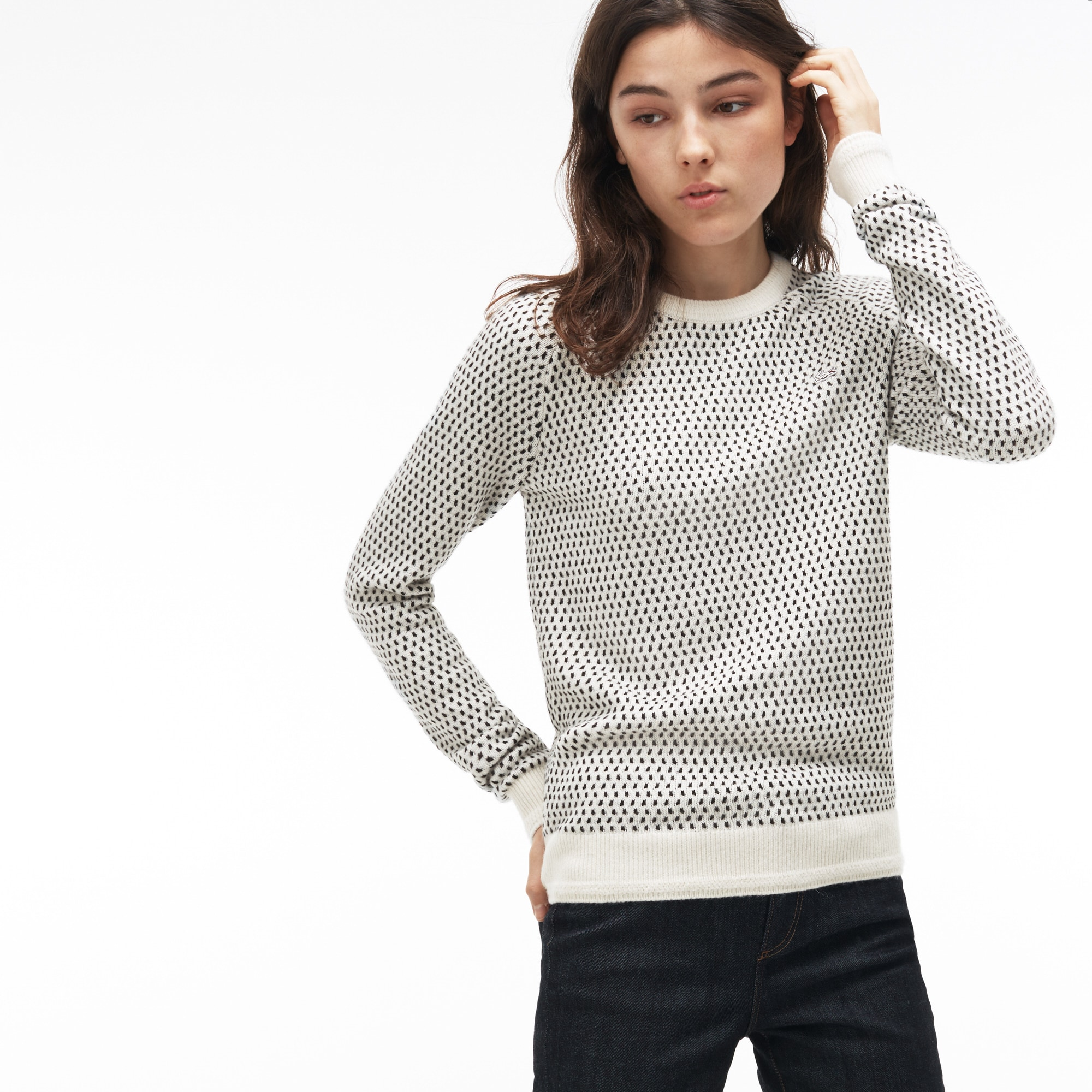 Women's Lacoste LIVE Crew Neck Wool Blend Mini Jacquard Sweater