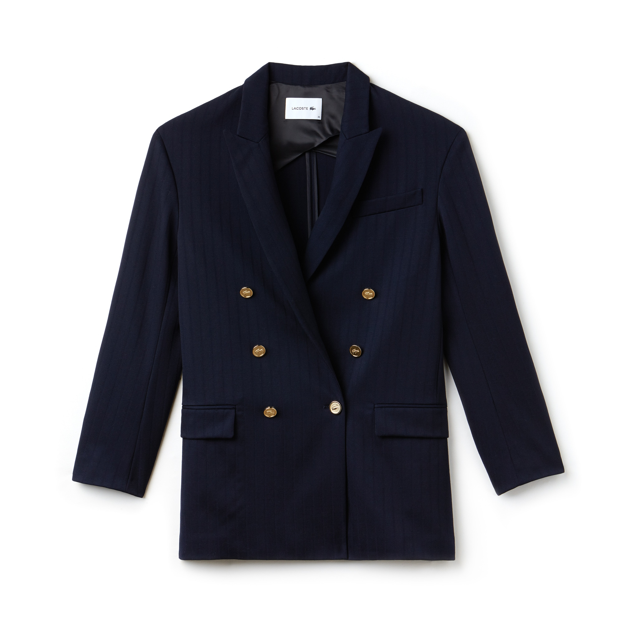 Women's Fashion Show Stretch Wool Broadcloth Double-Breasted Blazer