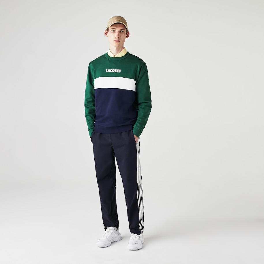Men's Lacoste SPORT Crew Neck Colourblock Fleece Sweatshirt