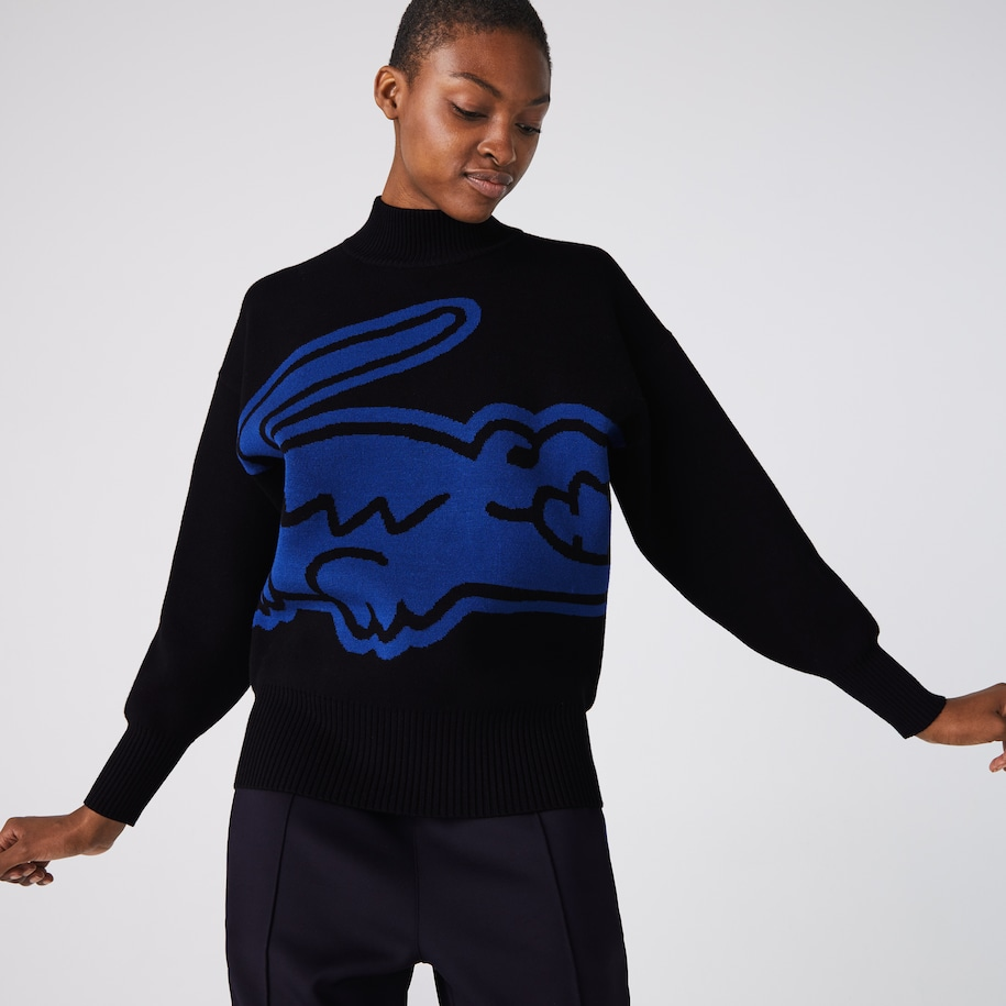 Women's Lacoste LIVE Loose Fit High Neck XXL Croc Loose Sweater
