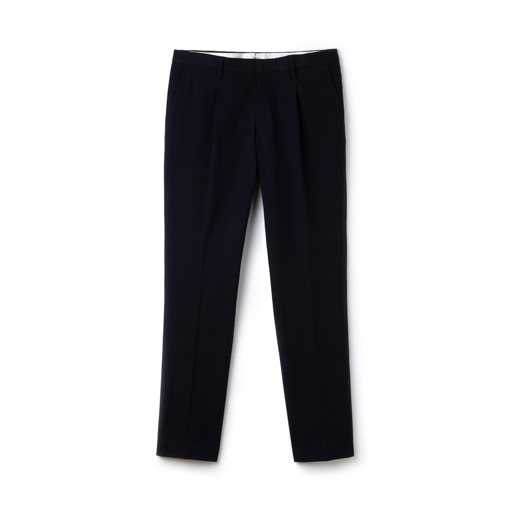 Men's Slim Fit Check Seersucker Pleated Chino Pants