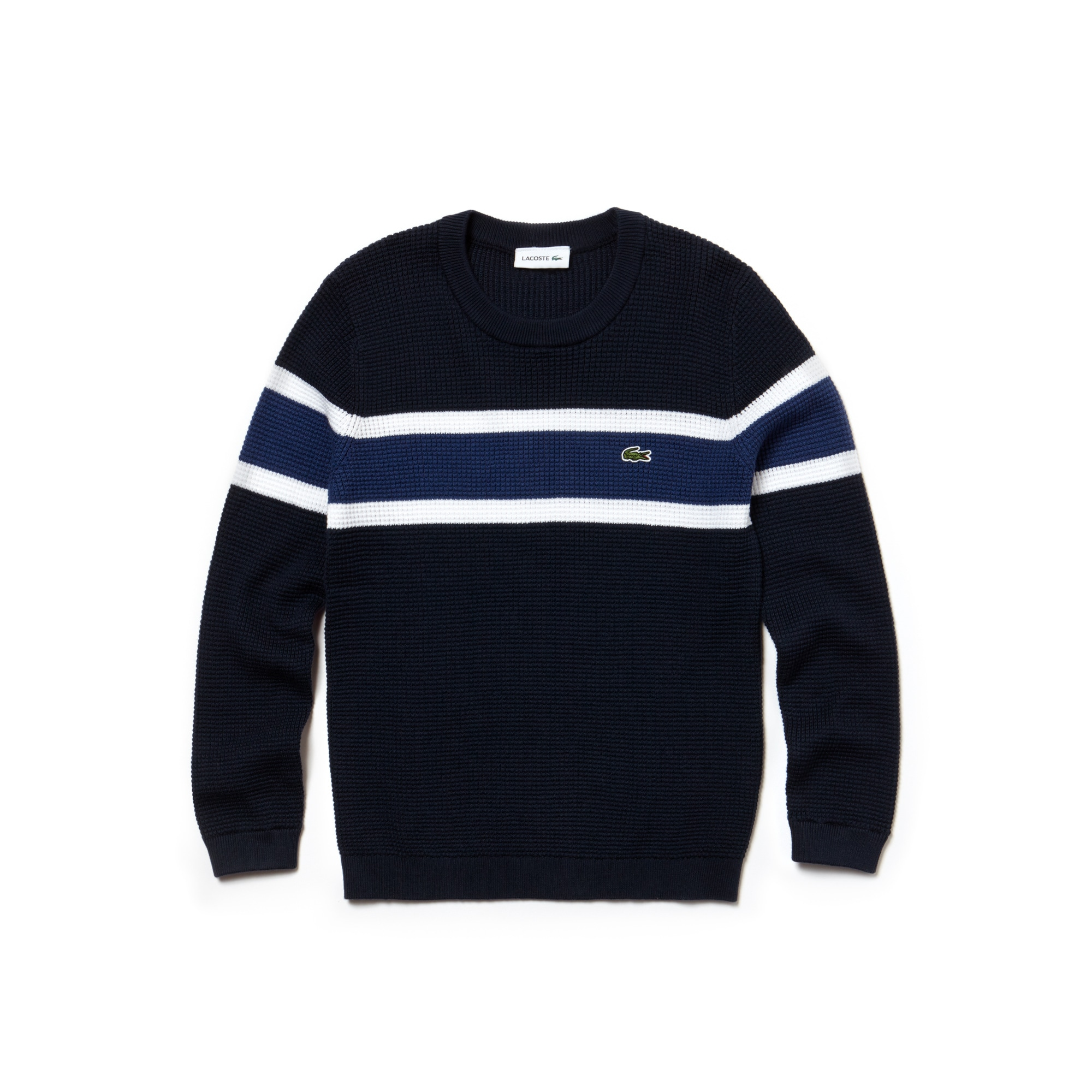 Boys' Crew Neck Contrast Bands Honeycomb Cotton Sweater