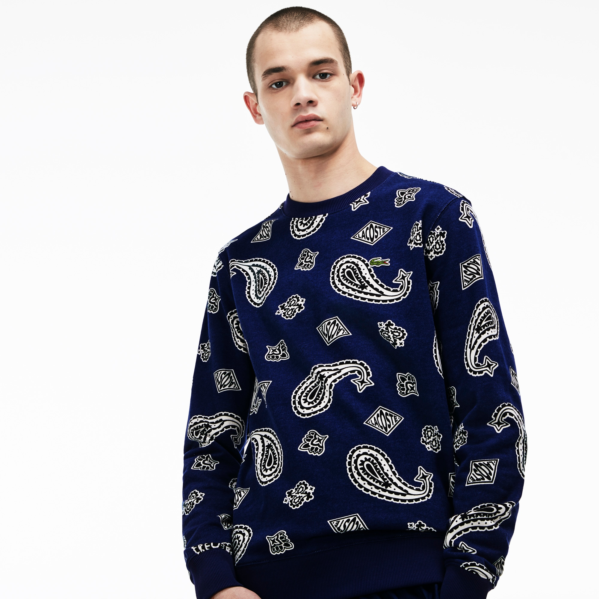 Neck Print Lacoste Live Paisley Fleece Men's Sweatshirt Crew 2HIED9