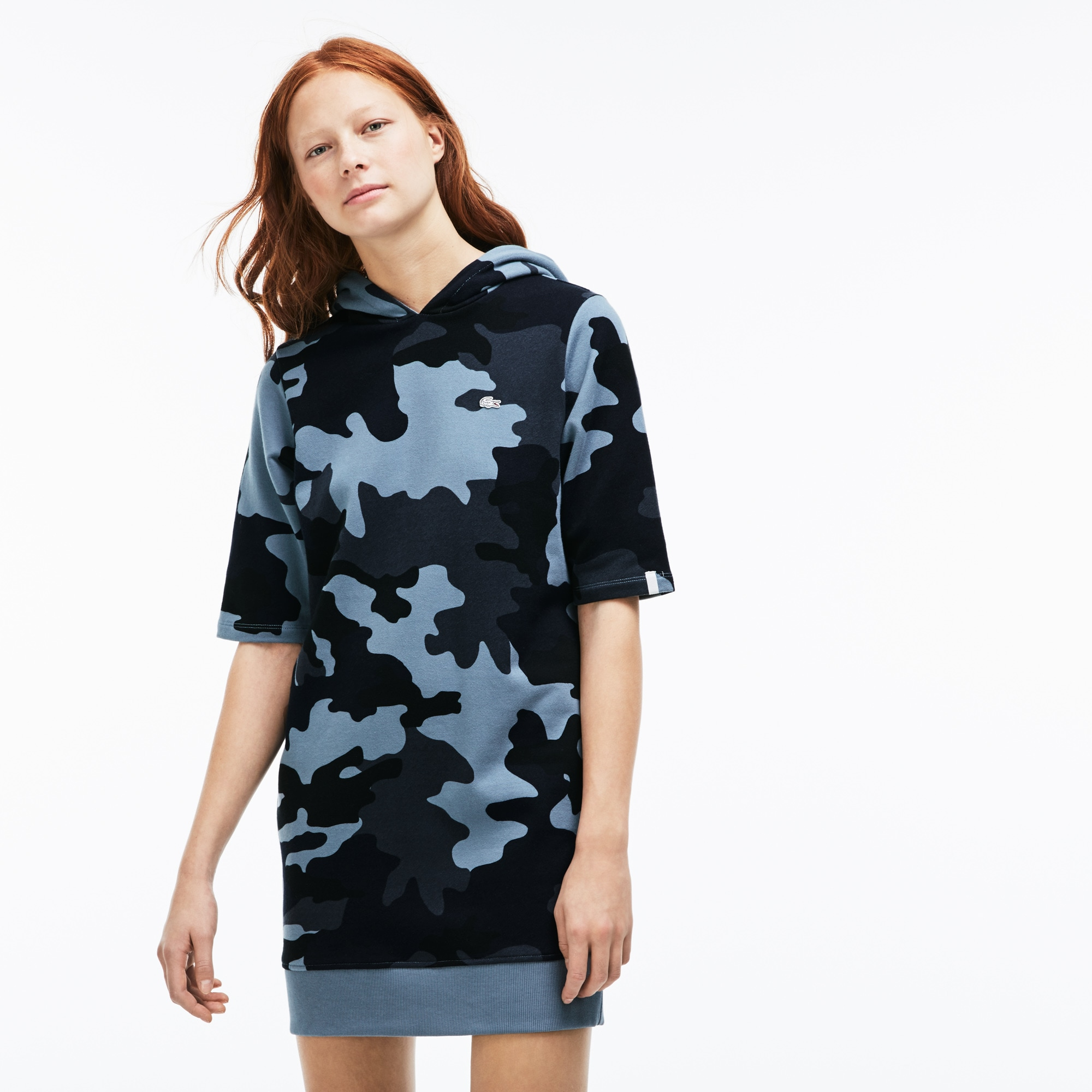Women's Lacoste LIVE Hooded Camouflage Fleece Sweatshirt Dress