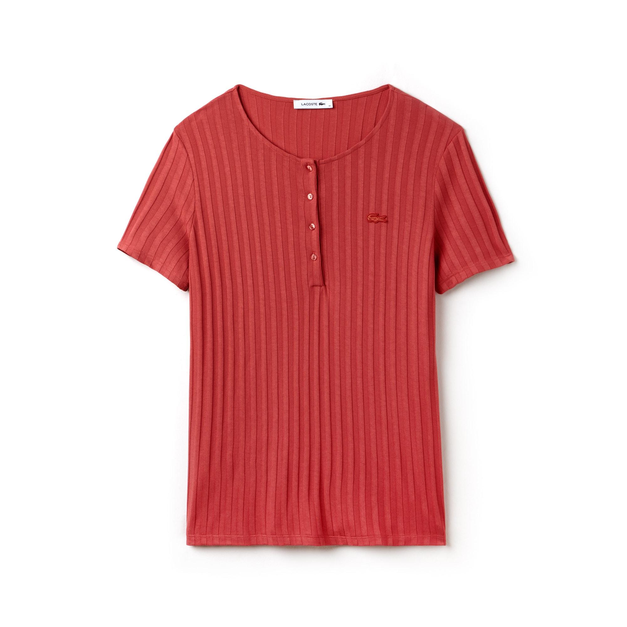 Women's Henley Neck Ribbed Knit T-shirt