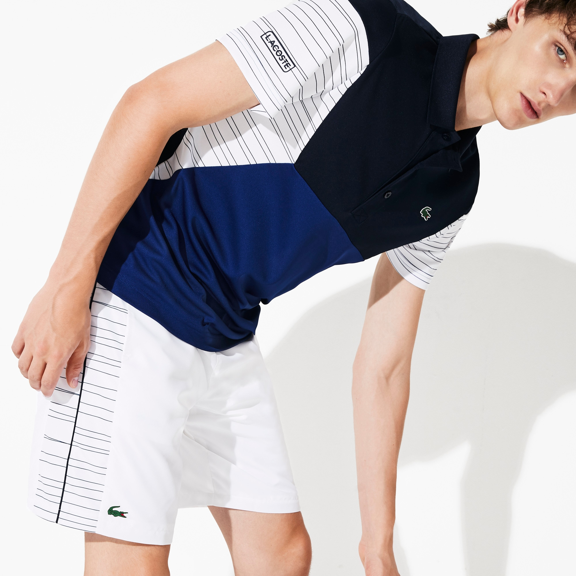 Men's Lacoste SPORT Colourblock Breathable Piqué Tennis Polo Shirt