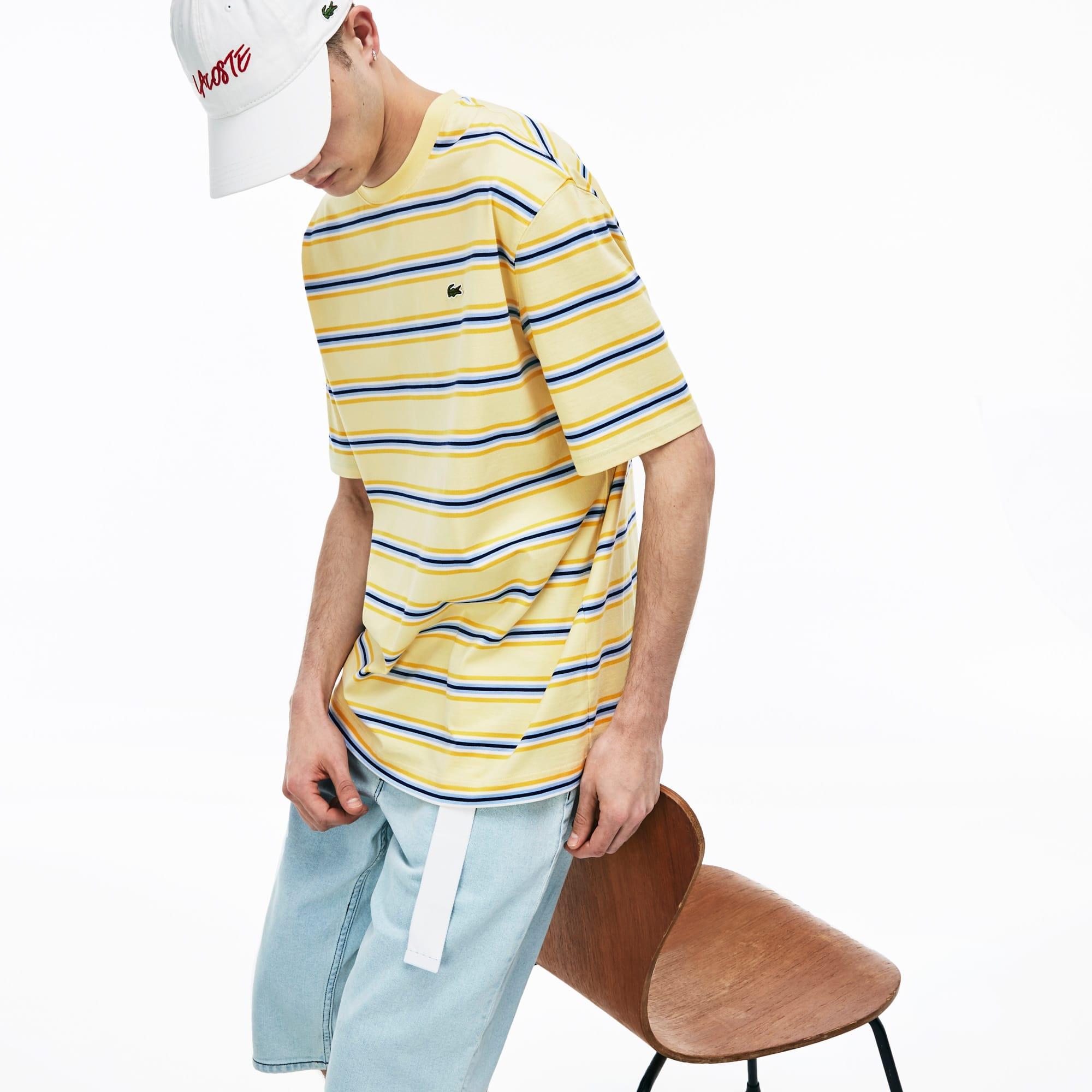 793386045b Men's Lacoste LIVE Crew Neck Rainbow Striped Cotton T-shirt
