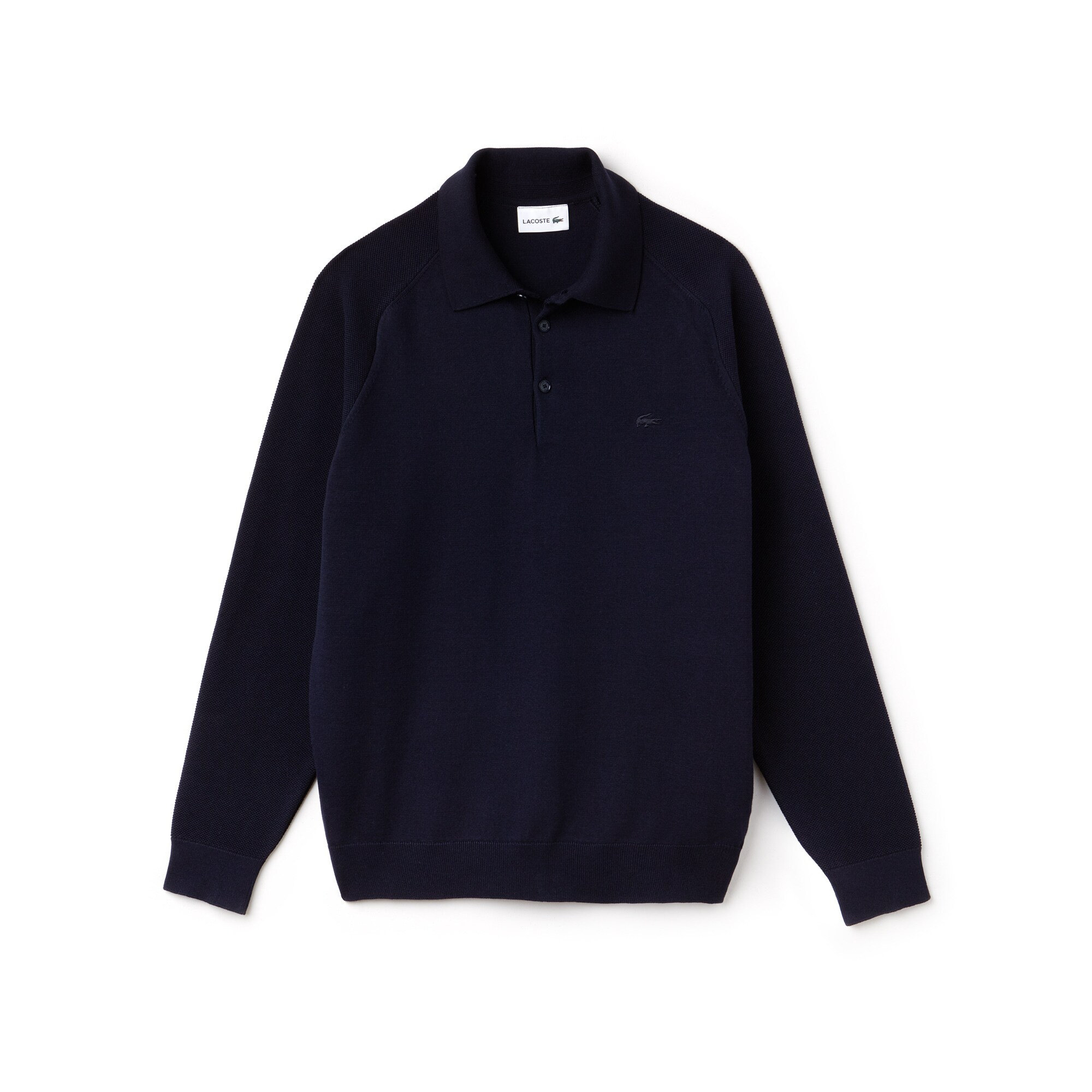 Men's Polo Collar Contrast Sleeves Technical Knit Sweater