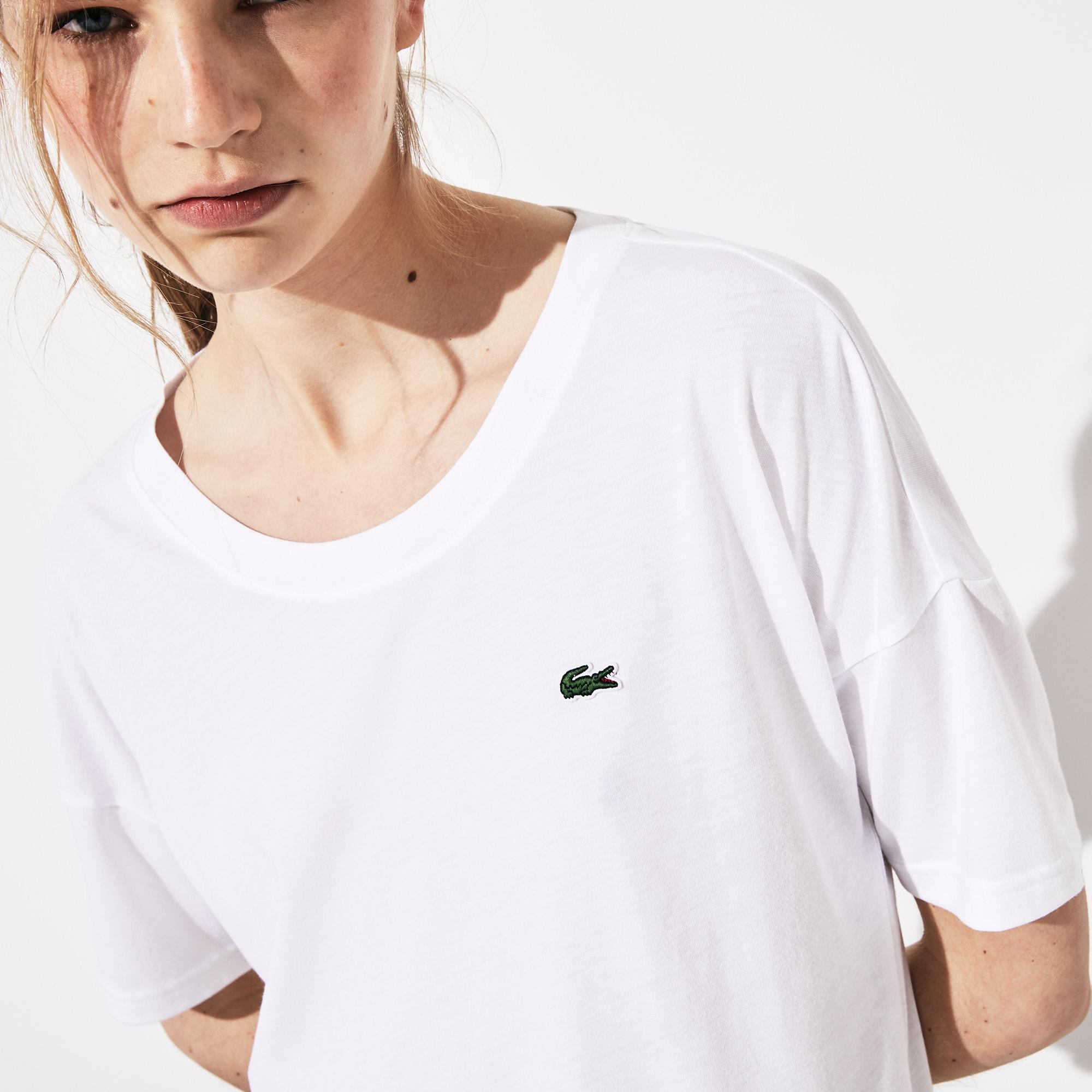 1368992d Women's Lacoste SPORT Signature Band Loose Flowing Tennis T-shirt