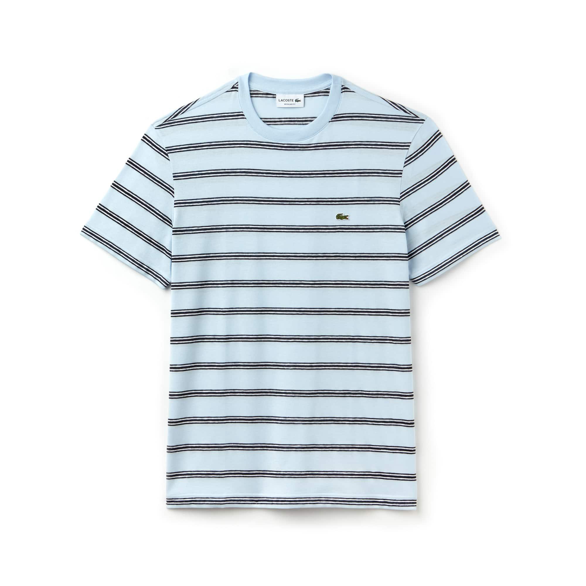 Men's Crew Neck Striped Cotton And Linen Jersey T-shirt