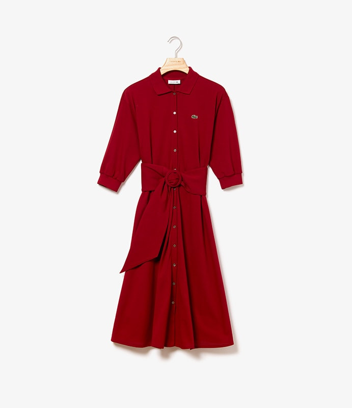 Polo dress in supple Petit Piqué with removable belt