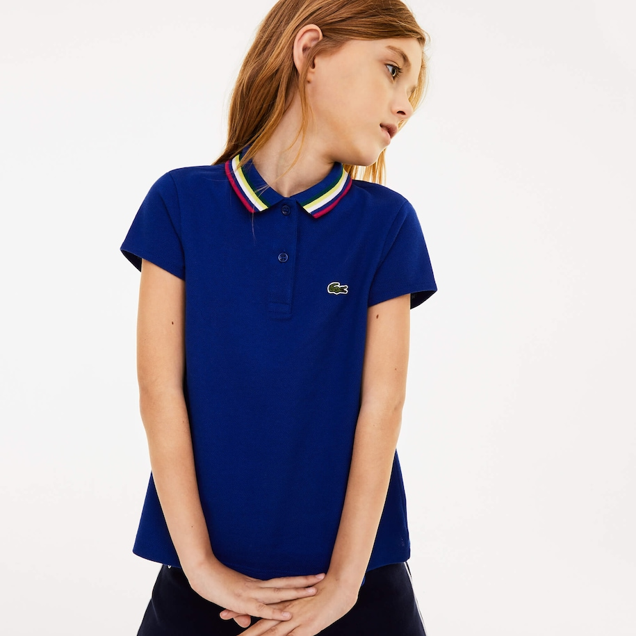 Girls' Lacoste A-Line Cotton Piqué Polo Shirt
