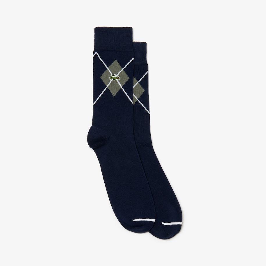 Men's Jacquard Patterned Ankle Cotton Blend Socks