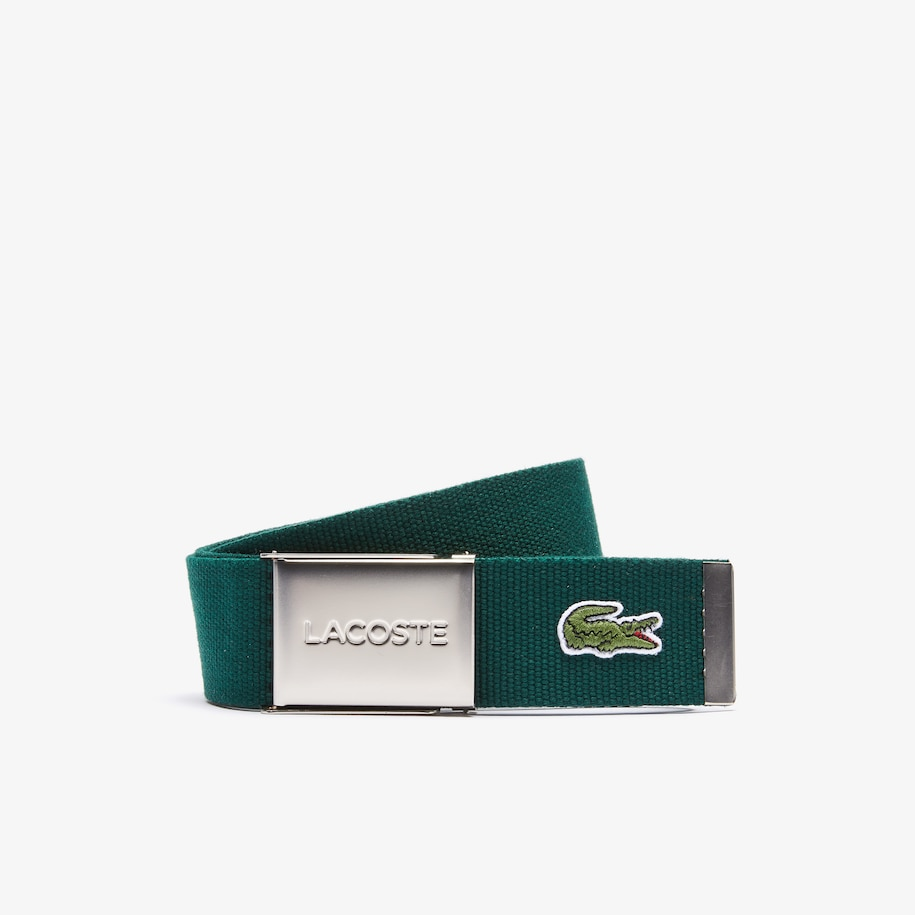 Men's Made in France Lacoste Engraved Buckle Woven Fabric Belt