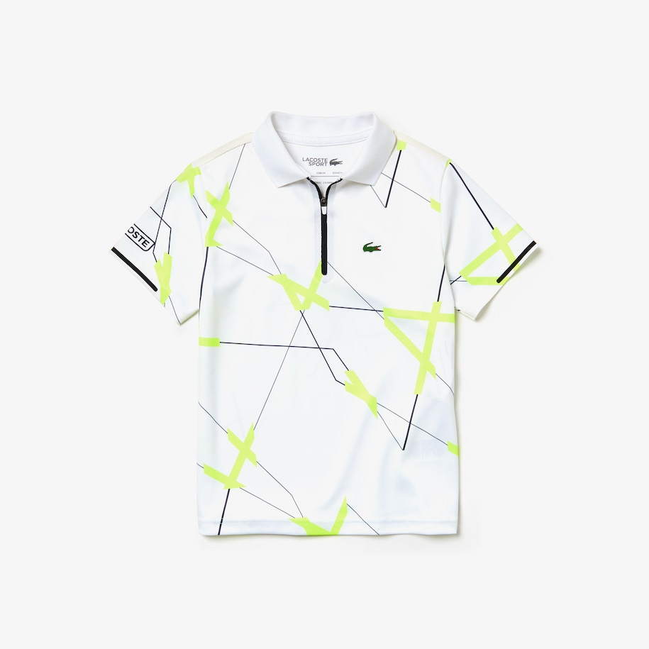 Boys' Lacoste SPORT Geometric Print Breathable Piqué Tennis Polo Shirt