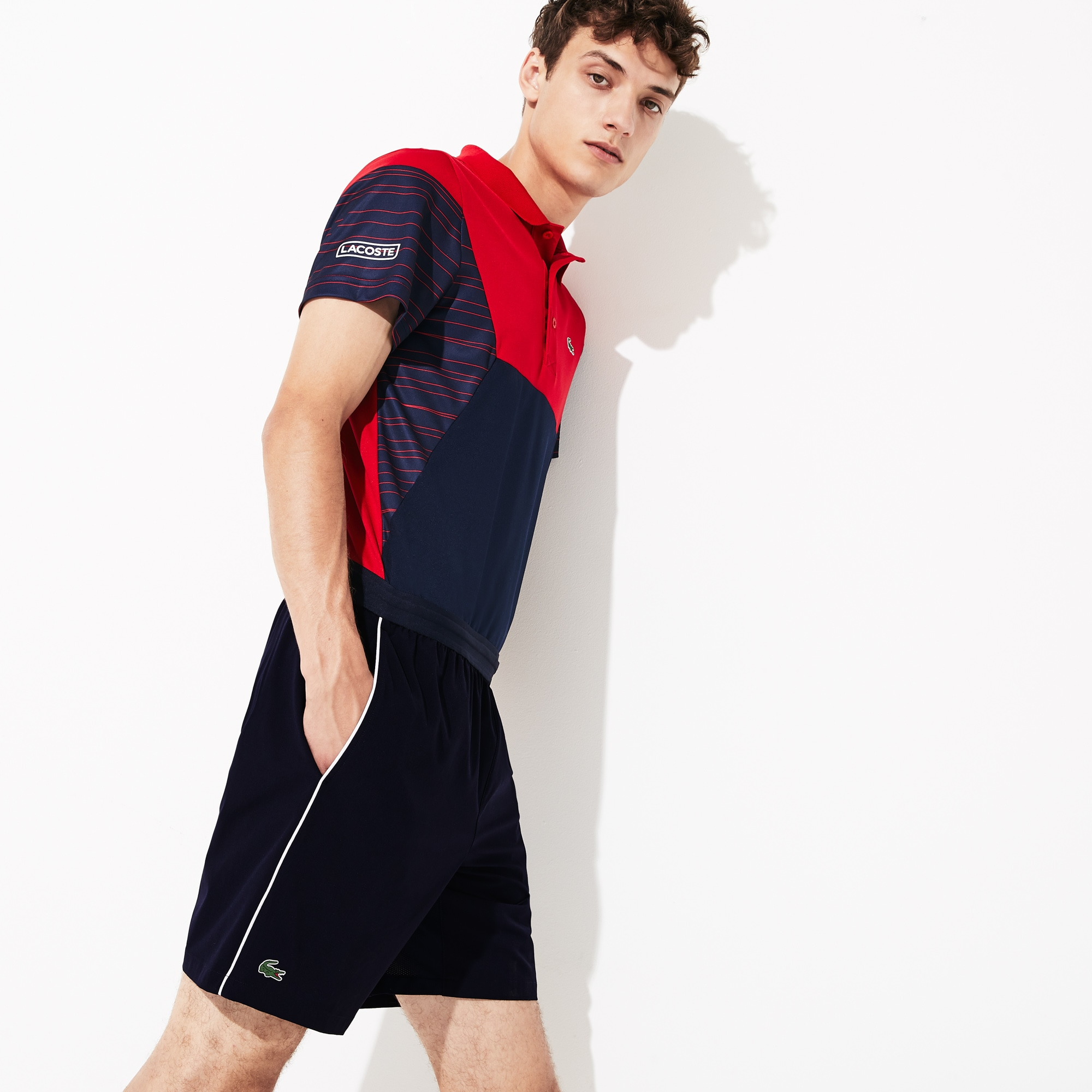 Men S Lacoste Sport Novak Djokovic Support With Style Collection Piped Stretch Technical Shorts Lacoste