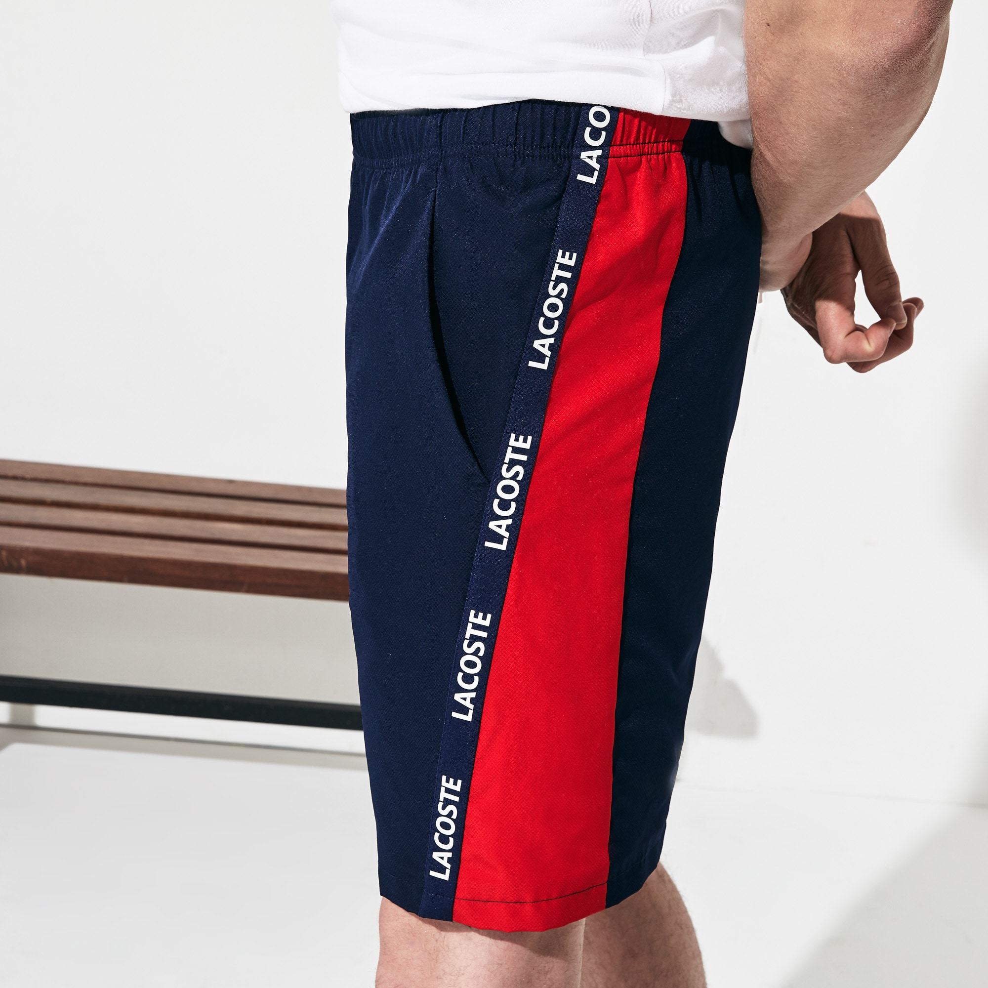 red lacoste shorts