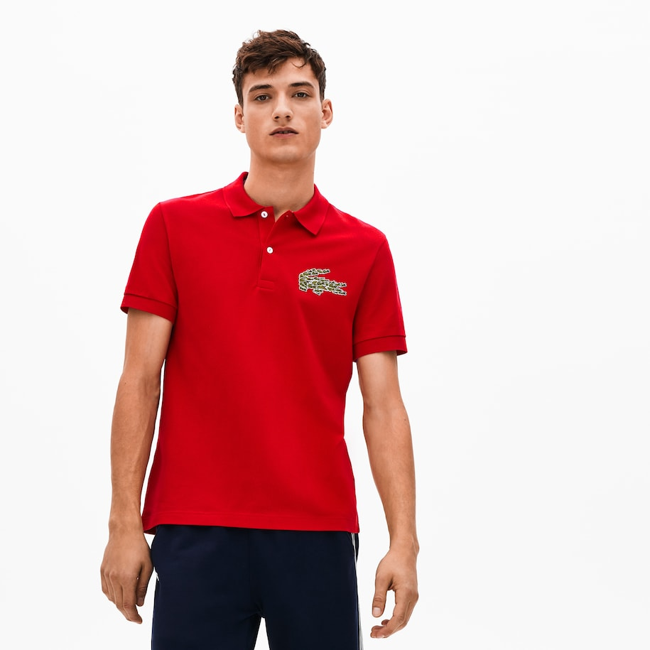 Men's Regular Fit Multi Croc Badge Cotton Piqué Polo Shirt